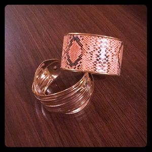 Jewelry - Lot of 2 pink and gold cuff bracelets